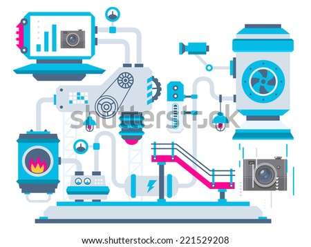 Vector industrial illustration background of the factory for processing cameras. Color bright flat design for banner, web, site, advertising, print, poster. - stock vector