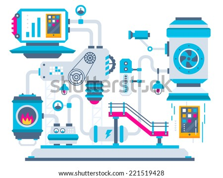 Vector industrial illustration background of the factory for processing phones. Color bright flat design for banner, web, site, advertising, print, poster. - stock vector