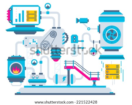 Vector industrial illustration background of the factory for processing servers. Color bright flat design for banner, web, site, advertising, print, poster. - stock vector