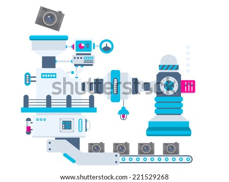 Vector industrial illustration background of the factory for producing cameras. Color bright flat design for banner, web, site, advertising, print, poster. - stock vector