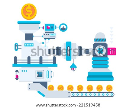 Vector industrial illustration background of the factory for producing gold coins. Color bright flat design for banner, web, site, advertising, print, poster. - stock vector