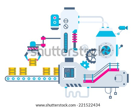 Vector industrial illustration background of the factory for sorting servers. Color bright flat design for banner, web, site, advertising, print, poster. - stock vector