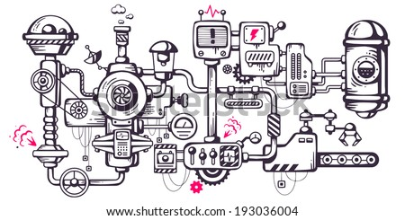 Vector industrial illustration background of the operating mechanism. Complicated mechanism at work. Line Art  - stock vector