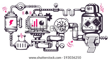 Vector industrial illustration background of the operating mechanism. Liquid, the device, print and report. Line Art  - stock vector