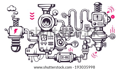 Vector industrial illustration background of the operating mechanism. The mechanical device in the factory. Line Art  - stock vector
