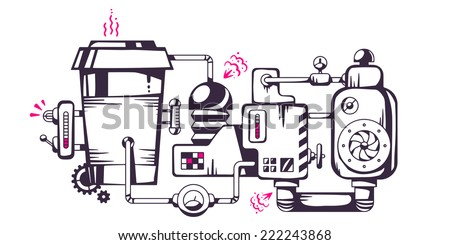 Vector industrial illustration of the mechanism of coffee to go. Line art design for banner, print, poster, sticker, advertising - stock vector