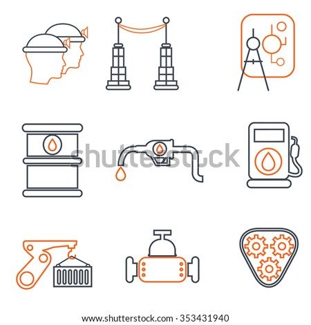 Vector industry, construction thin line icons set - stock vector
