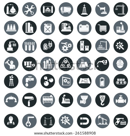 Vector industry factory icons set. - stock vector