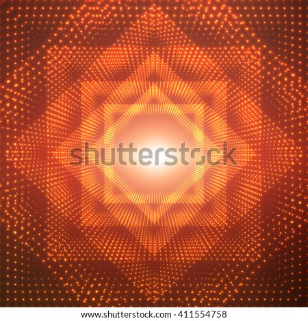 Vector infinite polygonal or square tunnel of shining flares on red background. Glowing points form tunnel sectors. Abstract cyber colorful background for your designs. Elegant geometric wallpaper. - stock vector