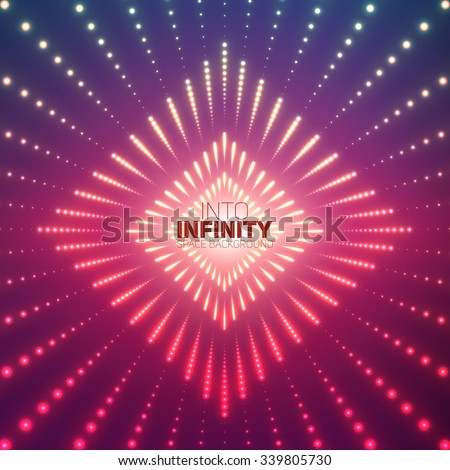 Vector infinite rhombic or square tunnel of shining flares on violet background. Glowing points form tunnel sectors. Abstract cyber colorful background for your designs. Elegant geometric wallpaper. - stock vector