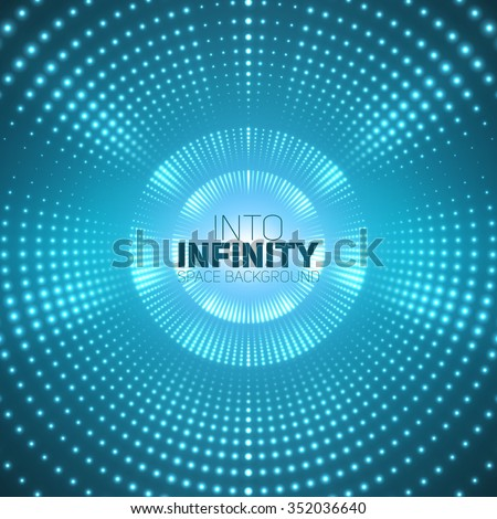 Vector infinite round tunnel of shining flares on blue background. Glowing points form tunnel sectors. Abstract cyber colorful background for your designs. Elegant modern geometric wallpaper. - stock vector