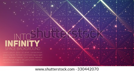 Vector infinite space background. Matrix of glowing stars with illusion of depth and perspective. Abstract futuristic universe on light background with place for text or logo. Nebula lattice. - stock vector