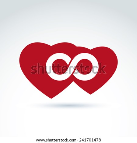 Vector infinity icon. Illustration of an eternity symbol placed on a red heart - love forever concept. Two Valentine hearts connected �¢?? marriage idea.  - stock vector