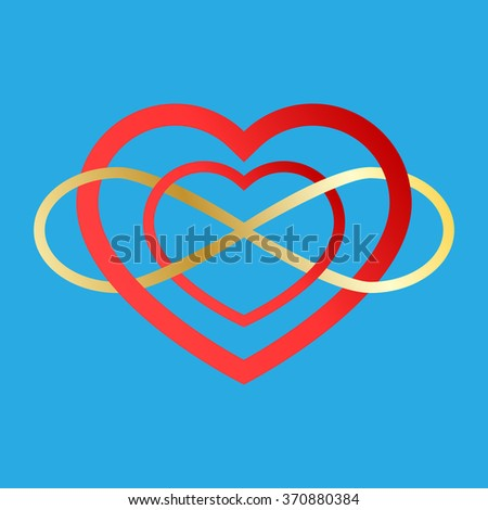 Vector infinity icon. Illustration of an eternity symbol placed on a red heart - love forever concept. Two Valentine hearts connected. marriage idea. - stock vector