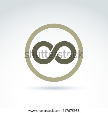 Vector infinity icon isolated on white background, illustration of an eternity symbol placed in circle. - stock vector