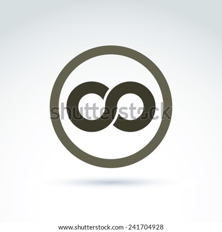 Vector infinity icon isolated on white background, illustration of an eternity symbol placed in a circle. - stock vector