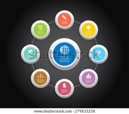 Vector info graphic composition with business icons. - stock vector