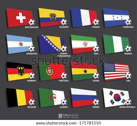vector info graphic flags - football 2014 - stock vector