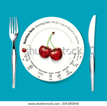 Vector info graphic of Nutrition facts cherries Clean Eating Concept.
