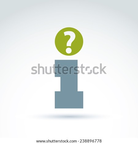 Vector info sign with a question mark. Conceptual consultation service emblem.  Info help concept, query symbol isolated on white background. Quiz pictogram. - stock vector