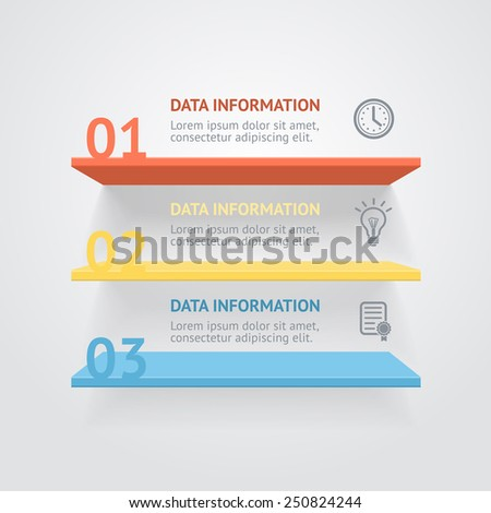 Vector infografic shelves options banner, for workflow layout - stock vector
