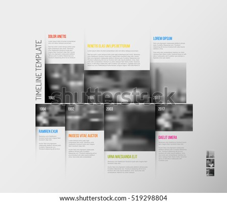 Vector Infographic Company Milestones Timeline Template with big rectangle photo placeholders and shadow effects