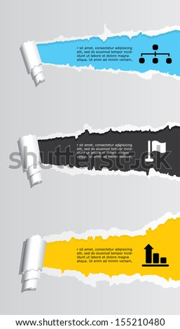 Vector infographic composition with ripped paper. - stock vector