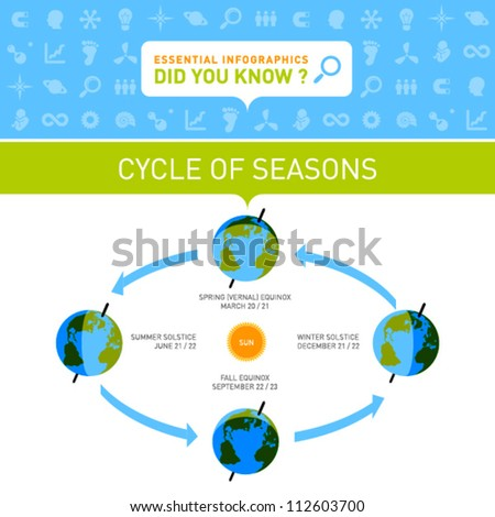 Vector Infographic - Cycle of Seasons - stock vector