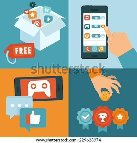 Vector infographic depicting freemium business model - free of charge and free to play apps and games - paying for extra features and services - conceptual illustration in flat style - stock vector