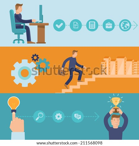 Vector infographic design elements and icons - career and business - cartoon man working and achieving success - stock vector
