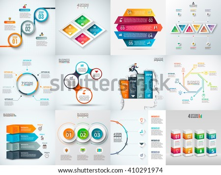 Vector infographic design template. Business concept with 3, 4, 5, 6, 7 and 8 options, parts, steps or processes. Can be used for workflow layout, diagram, number options. Data visualization. - stock vector