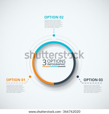 Vector infographic design template. Business concept with 3 options, parts, steps or processes. Can be used for workflow layout, diagram, number options, web design. Data visualization. - stock vector