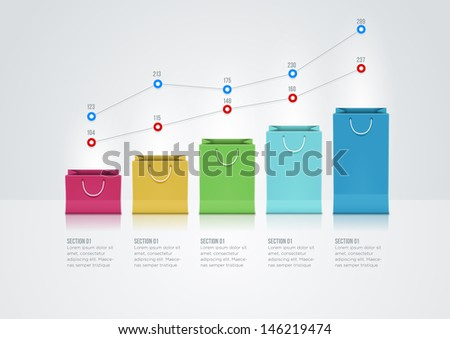 Vector infographic design template with paper bags. - stock vector