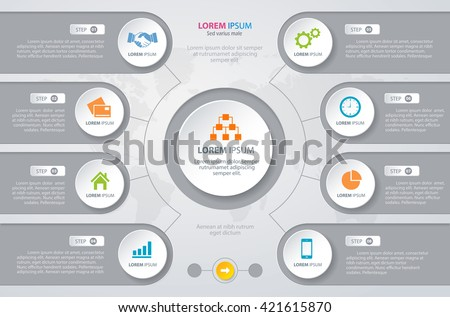 Vector Infographic design white circles with world map. Eps 10 - stock vector