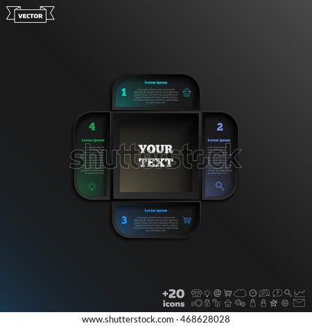Vector infographic design with colorful square on the black background. Business concept. 4 options, parts, steps. Can be used for graph, diagram, chart, workflow layout, number options, web