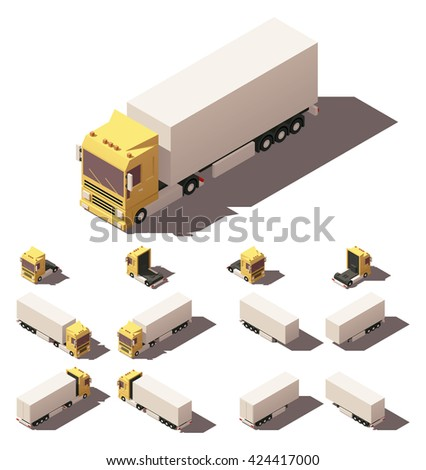 Vector infographic element representing truck with box semi-trailer in four views with different shadows - stock vector