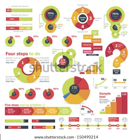 Vector infographic elements and charts - stock vector