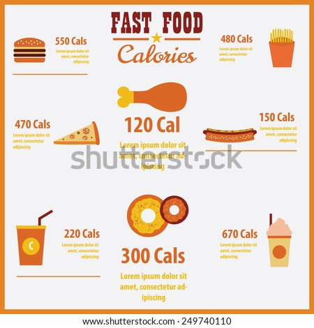 Vector infographic fast food calories  - stock vector