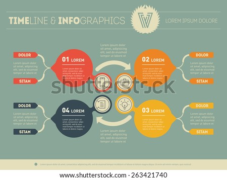 Vector infographic of education process. Web Template for circle diagram or presentation. Business concept with four options. - stock vector