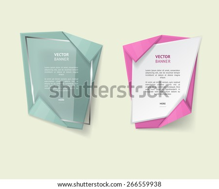 Vector infographic origami banners set. - stock vector