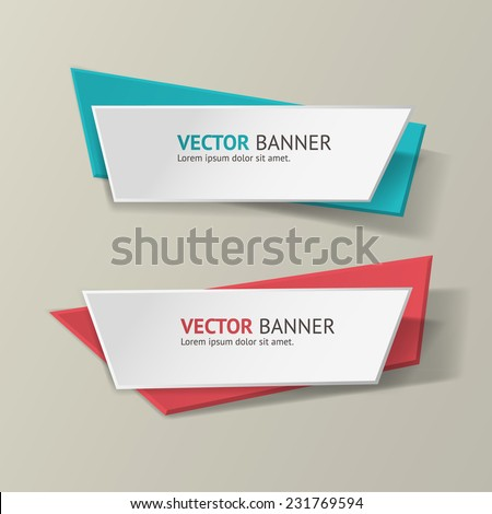 Vector infographic origami banners set. Bright colors - stock vector