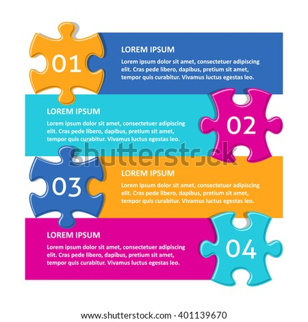 Vector infographic puzzle design template with numbered options - stock vector