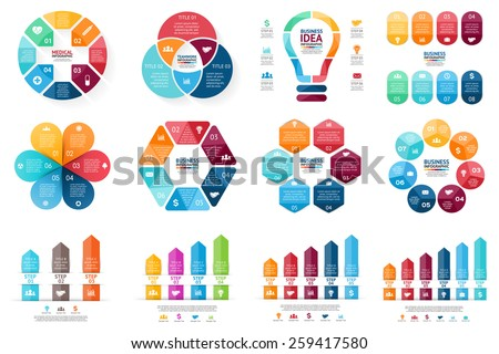 Vector infographic set. Template for cycle diagram, graph, presentation and round chart. Business concept with options, parts, steps or processes. Abstract background. - stock vector