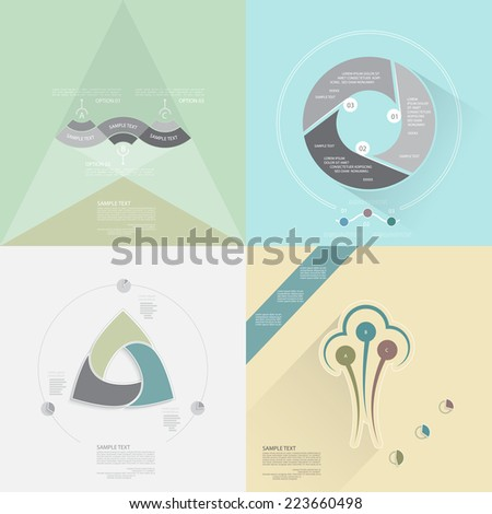 Vector infographic set, template for presentation, business concept with three steps or processes - stock vector
