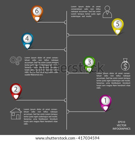 Vector infographic te,plate with pointers and icons. Colored pointers with dark background.
