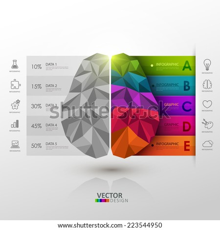 Vector infographic template. Brain functions. - stock vector
