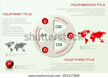 Vector infographic template. Business concept with display for text, numbers and icons. World map and earth globe - stock vector