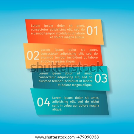 Vector infographic template. Cut strips with shadows.