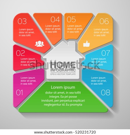 Vector infographic template, eight options, home