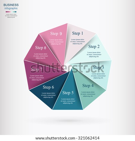 Vector infographic. Template for diagram, graph, presentation and chart. Business concept with 9 options, parts, steps or processes.  - stock vector